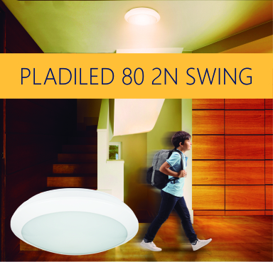 NEW LED FLUSH CEILING LIGHT WITH DETECTOR: PLADILED 80 2N SWING